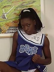 Tasty nude black babe in cheerleaders..