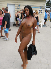 Parties naked black slut