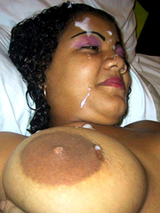 African girl with natural massive boobs gets facial cumshot