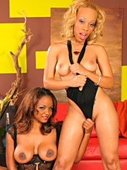 Melrose Foxxx and Sinnamon Love got the best of both worlds today: some lesbo loving and fondling, then a big hard cock filled with enough cum to satisfy the two of them. The girls had a wicked gleam in their eyes as they sucked on C. J.'s sausage, then