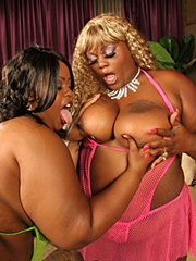 Pleasure Unique and Thunder Katt are a combined total of almost 500 pounds of Black pussy! Lefty gets to fuck them big titties and he makes good use of their mouths but these fatties start fighting over his cum cause they know there's calories-a-plenty in